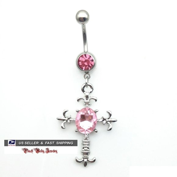 Jewelry - 3/$28 Roman Cross Crystal Navel Ring